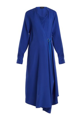 Arran waist-tie draped silk-crepe dress