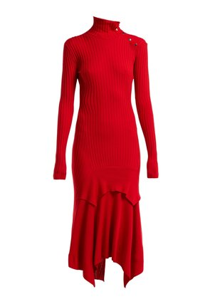 Handkerchief-hem ribbed-knit dress