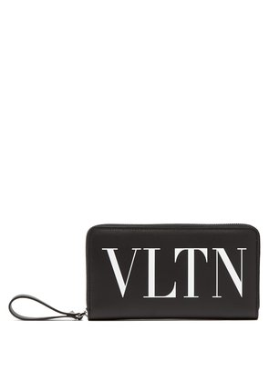 Logo-print zip-around leather wallet