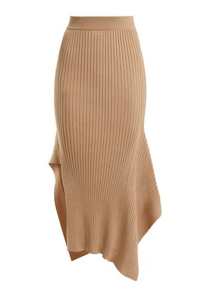 Asymmetric ribbed-knit skirt