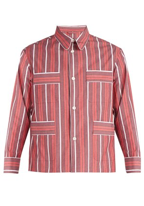 Striped cotton-blend shirt