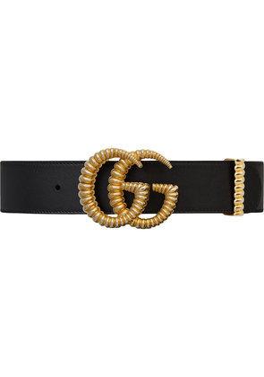 Gucci Leather belt with torchon Double G buckle - Black