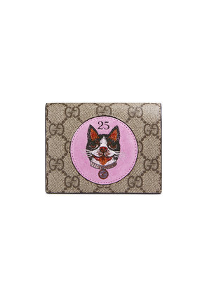 Gucci GG Supreme card case with Bosco patch - Brown
