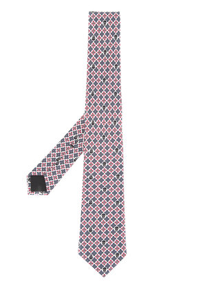 Alexander McQueen skull and geometric pattern tie - Blue