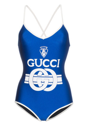 Gucci Logo print swimsuit - Blue