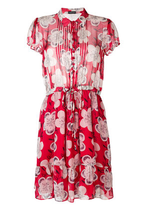Emporio Armani ruched floral-print shirt dress - Red