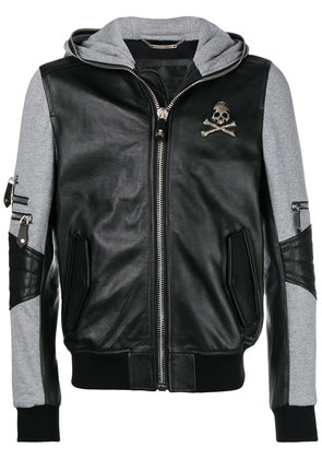 Philipp Plein leather hooded bomber jacket - Black