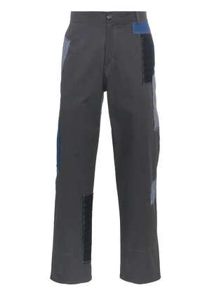 78 Stitches patchwork straight leg cropped trousers - Grey