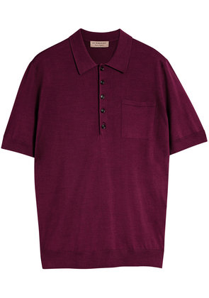 Burberry Knitted Silk Polo Shirt - Red