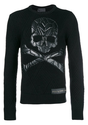 Philipp Plein skull patch chunky knit sweater - Black