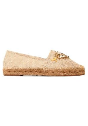 Dolce & Gabbana Woman Embellished Corded Lace Espadrilles Beige Size 35