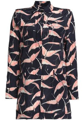 Valentino Woman Printed Silk Crepe De Chine Playsuit Midnight Blue Size 38
