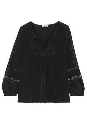 With Paypal Sale Online Joie Woman Durango Cotton-blend Lace-paneled Washed-silk Blouse Black Size S Joie Outlet Classic 1AQ0rUU