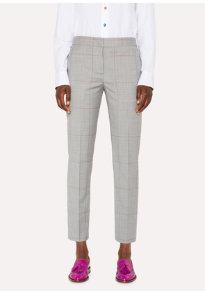 Women's Classic-Fit Grey Windowpane-Check Wool Trousers