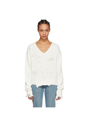 Helmut Lang White Distressed Sweater