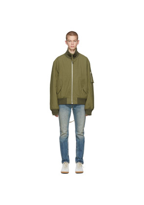 Helmut Lang Green Re-Edition High Collar Bomber Jacket
