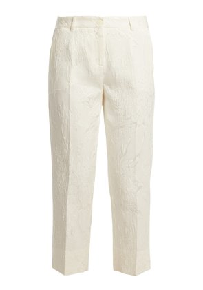 High-rise floral-jacquard trousers