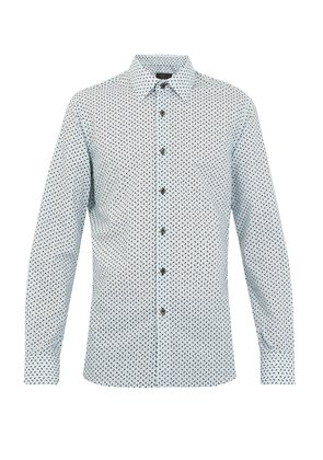 Single-cuff arrow-print cotton shirt