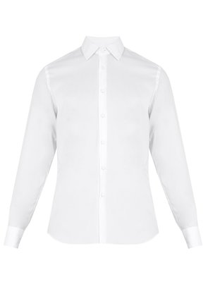 Point-collar double-cuff cotton-blend dinner shirt