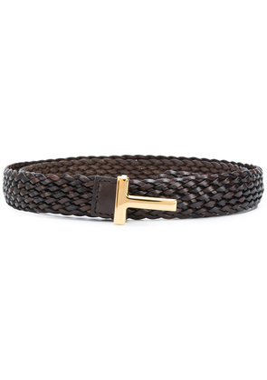 Tom Ford logo embellished buckle belt - Brown