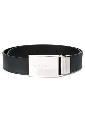 Burberry Reversible London Check and Leather Belt - Blue