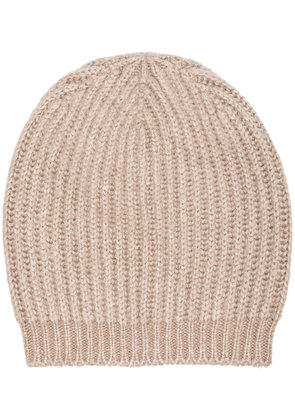 Rick Owens knitted ribbed beanie - Nude & Neutrals