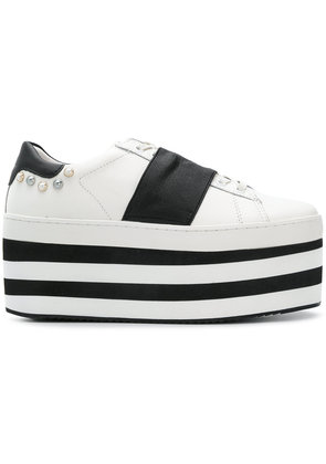 Moa Master Of Arts flatform striped lace-up sneakers - White