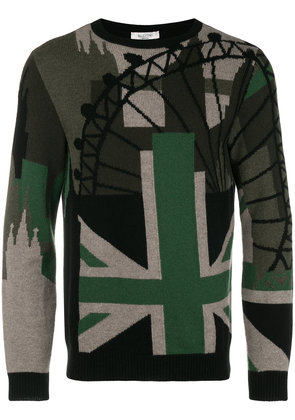 Valentino contrast patch fitted sweater - Black