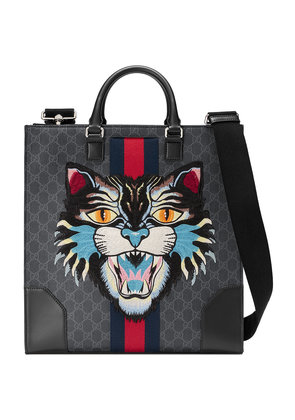 Gucci GG Supreme tote with Embroidered Angry Cat - Black