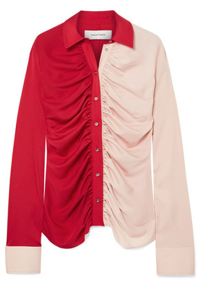 Marques' Almeida - Ruched Two-tone Voile Shirt - Red