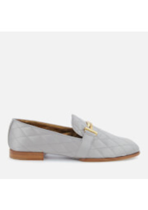 Tod's Women's Quilted Satin T Logo Slippers - Grey - UK 6 - Grey