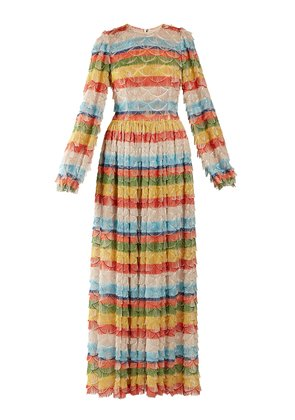 Fringe-trimmed striped gown