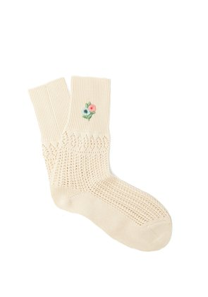 Floral-embroidered pointelle-knit ankle socks