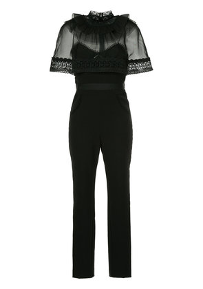 Self-Portrait capelet jumpsuit - Black