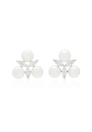 Fallon Faux Pearl Crystal And Silver-Plated Earrings