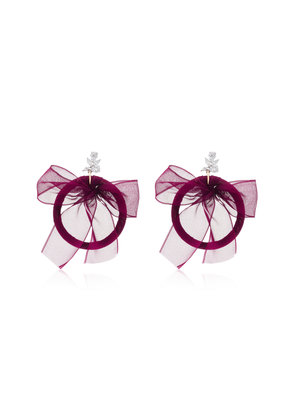 Fallon Crystal Silk And Silver-Plated Hoop Earrings