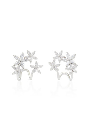 Fallon Silver-Plated Crystal Cuff Earrings
