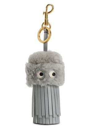 Anya Hindmarch Woman Shearling And Leather Tassel Keychain Gray Size -