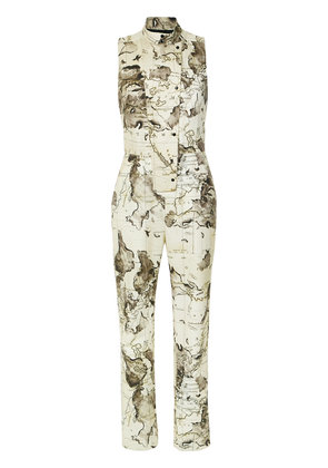 Andrea Marques map print jumpsuit - Nude & Neutrals