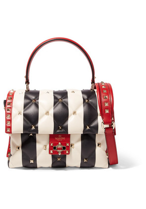 Valentino - Valentino Garavani Candystud Striped Quilted Leather Shoulder Bag - White