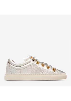Henrika Metallic, Womens metallic goat leather skate trainers in silver Bally