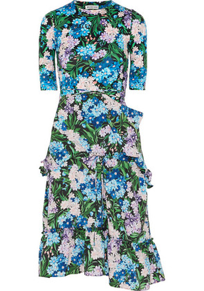 Balenciaga - Gathered Floral-print Jersey And Crepe Dress - Blue
