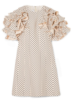 Valentino - Ruffled Polka-dot Wool And Silk-blend Mini Dress - Cream