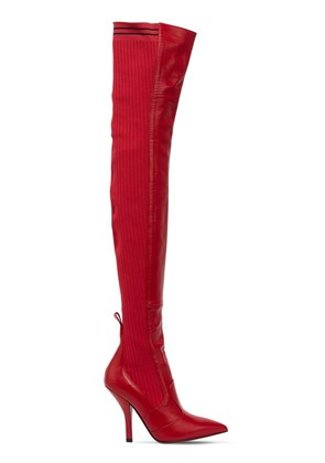 105MM LEATHER & KNIT OVER THE KNEE BOOTS