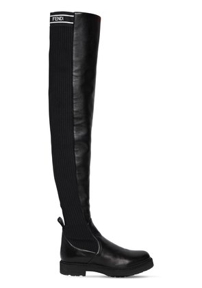 30MM LEATHER & KNIT OVER THE KNEE BOOTS