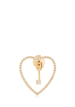 HEART 18KT GOLD & DIAMONDS MONO EARRING