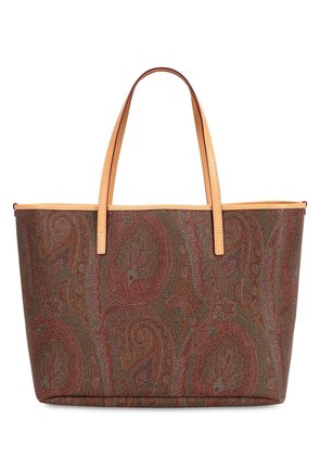 PAISLEY FAUX LEATHER TOTE BAG W/ POUCH