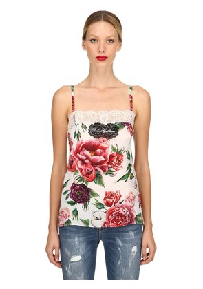 ROSES PRINTED SILK CREPE DE CHINE TOP