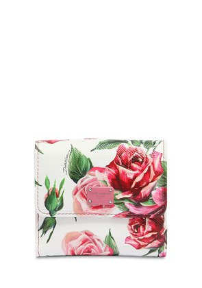 FLOWER PRINT SMALL LEATHER WALLET