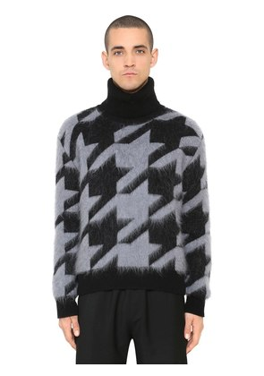 BRUSHED WOOL BLEND HOUNDSTOOTH SWEATER